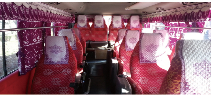 mini bus inside seats